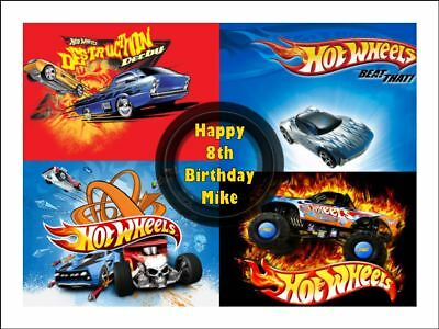 Hot Wheels A4 Edible Icing Birthday Cake Party Decoration Topper 1