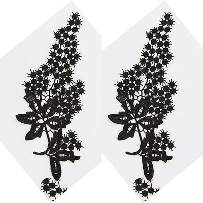 1Pair Black Embroidered Craft Applique Venise Flower Costume Sewing Lace Trim