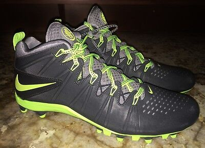 NEW Mens 10 11 NIKE Huarache LAX 4 LE Mid TD DK GREY Volt Molded Lacrosse Cleats