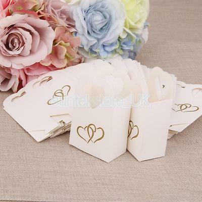50 Wedding Favour Gift Candy Boxes Bags Baby Shower Party Anniversary White