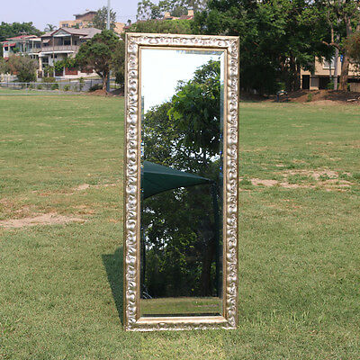 Wooden Europe palace style Embossed Wall Mirror Silvery frame 142CM X 50CM