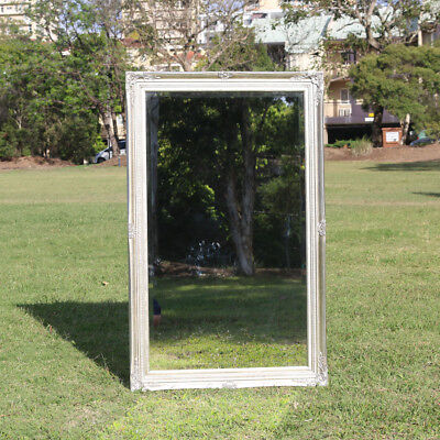 Wooden Italian Palace style Embossed Wall Mirror with silver frame