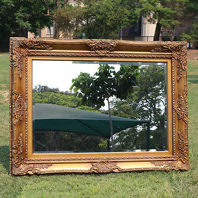 Wooden Italian Palace style Embossed Wall Mirror with gold frame