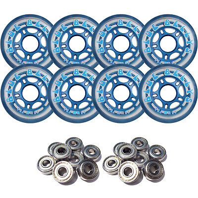 BLUE BELLYS 76mm 78a Roller Inline Skate Wheels with ABEC 9 BEARINGS