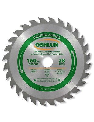 Oshlun SBFT-160028 160mm 28T Saw Blade 20mm Arbor for Festool TS 55 EQ, & DWS520