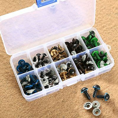 100Pcs Plastic Safety Eyes For Teddy Bear Doll Animal Puppet Craft 5Mix Color