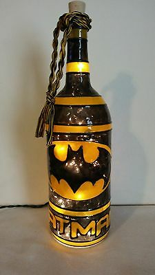 Bat Man inspired Wine Bottle Lamp Handpainted Lighted Stained Glass look