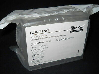 (5) Corning BioCoat Collagen I 6-Well Clear Flat Bottom TC Plates & Lids, 354400