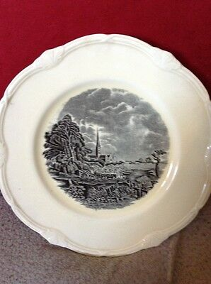 Pair of Grindley Constable Series Salisbury Cathedral Black and White Plates