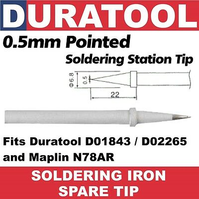 0.5mm Pointed Soldering Iron Tip Duratool D01843 D02265 Maplin N78AR D01843-C1-2