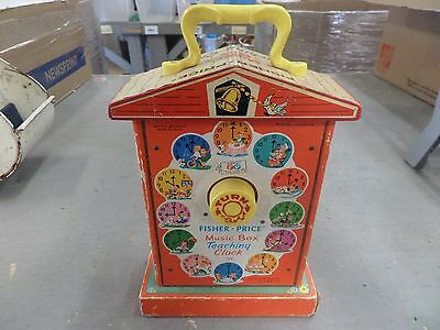 Vintage 1960s Fisher Price Music Box Teaching Clock 998 WORKS