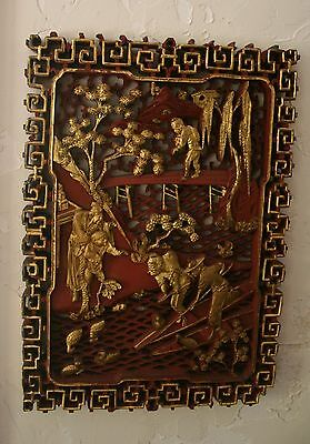 Fine Antique 19th C. Chinese Gold Gilt & Red Cinnabar Carved Wood Panel