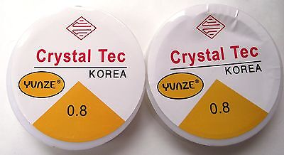14m elastic stretch beading cord string .8 mm clear Crystal Tec anklets braclets