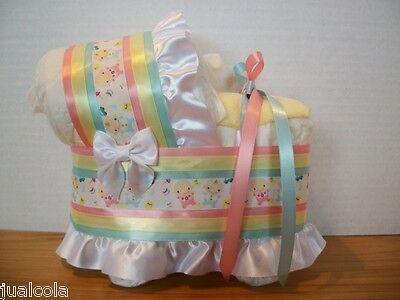 Beautiful Boy Girl Neutral Twins Diaper Bassinet Carriage Baby Shower Decoration