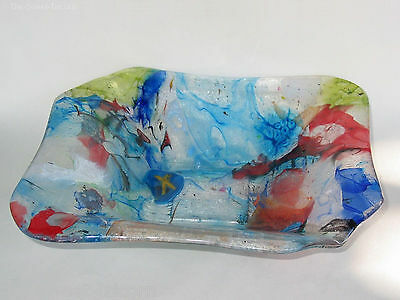 Stephen Skillitzi Rectangular Glass Bowl. Australian Studio Glassmaker