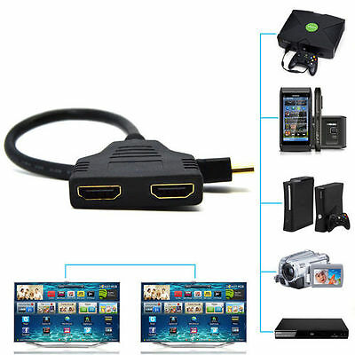 1080P HDMI Port Male to 2Female 1 In 2 Out Splitter Cable Adapter Converter New