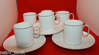 Thomas Germany White Platinum Silver Band Rim Coffee Tea 6 Mug Cup 5 Saucer Set