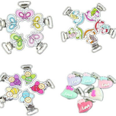 10Pc Baby Cute Pacifier Clips Animals Wood Metal Holders Dummy Nipples Suspender