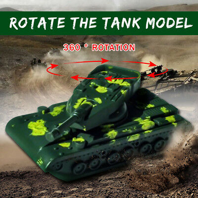 1Pc Mini Military Tanks Plastic Toy Rotating Turret Soldier Army Men Accessories