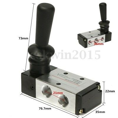 "5 Port 2 Position 1/4"" PT Hand Pull Lever Pneumatic Air Valve Control 4H210-08"