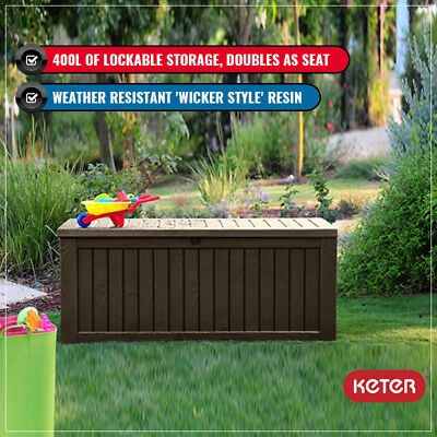 Keter Rockwood Indoor Outdoor Storage Box Lockable With Two Seat Adults Brown