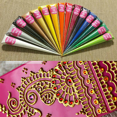 ANY 17 x Acrylic Henna Paint Cones Mehndi Candles Canvas Hand Made Gifts Art