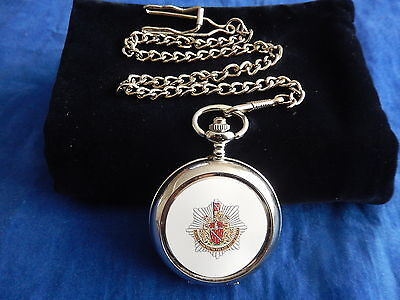 Greater Manchester Fire & Rescue Service Chrome Pocket Watch With Chain (New)