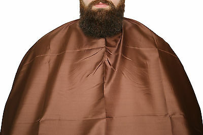 Barber Salon Cape Gown BROWN STRAIGHT STEEL HOOK 160CMx140 Free UK Delivery
