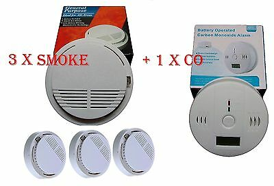HOME FIRE SAFETY PACK  SMOKE FIRE ALARM DETECTOR x 3 + CO DETECTOR X 1.CE MARKED