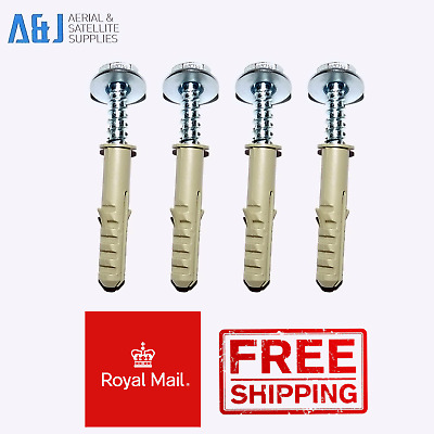 4 X Coach Bolts And Raw Plugs For Sky Dish / Lcd / Plasma / Aerial Wall Brackets