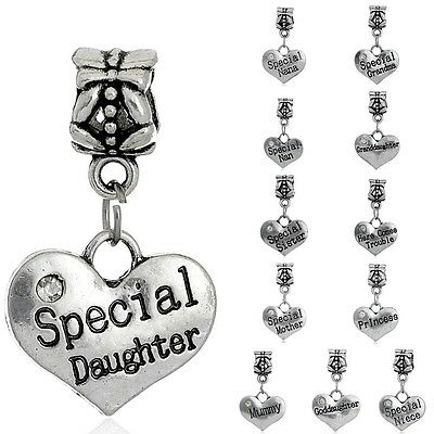 Heart Family Name Charm Bead European Bracelets Daughter  Mother Sister Grandma