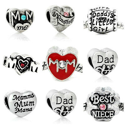 Various Family Charm Beads 1:  European Bracelets Mom Dad Daughter Nana Heart