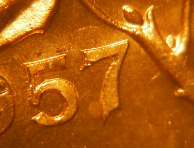 DOUBLE 57 + HANGING 7 ***** 1957 One Cent ***** Choice BU