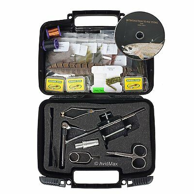 Fly Tying Kit Anglers Deluxe Marabou Pliers Scissors Hooks Thread Feathers