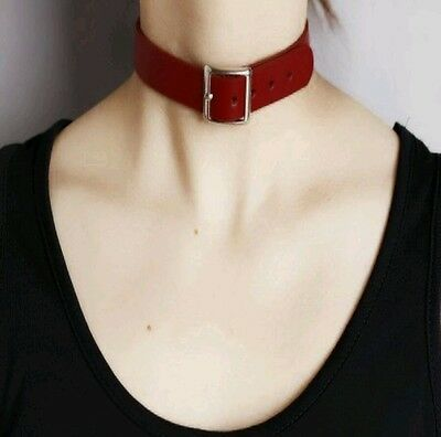 Red Collar Faux PU Leather Classic BDSM Buckle Gothic Punk Choker Chain Leash