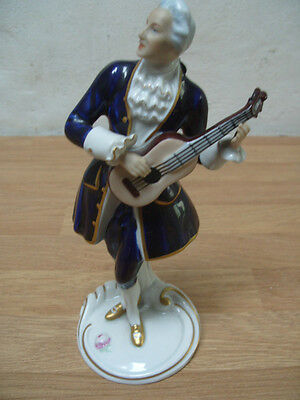 Royal Dux Porcelain Figure Gentelman In Cobalt And Gilt Playing Guitar 23cm Tall