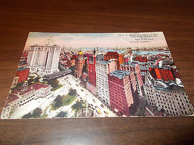 1915 View of East Side from Woolworth Tower, New York City Vintage Postcard