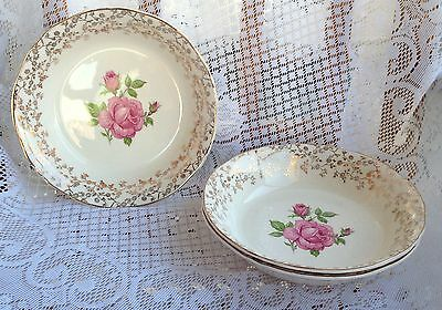 3 Alfred Meakin Gold Chintz Pink Rose Soup Bowls  (594)