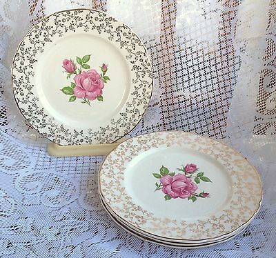 4 Alfred Meakin Gold Chintz Pink Rose Bread/Butter Plates(595)