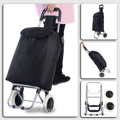 Shopping Cart Folding Basket Rubber Wheels Laundry Grocery Travel Trolley Bag NW