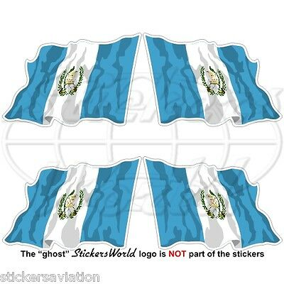 "GUATEMALA Flying Flag Guatemalan 50mm(2"") Vinyl Bumper-Helmet Stickers Decals x4"