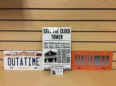 Back To The Future OUTATIME  Delorean 1& 2 Novelty license plates Gift Set USA
