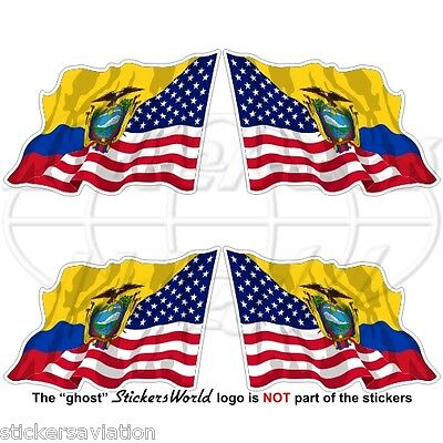 USA United States America-ECUADOR Ecuadorian Flying Flag 50mm Stickers Decals x4