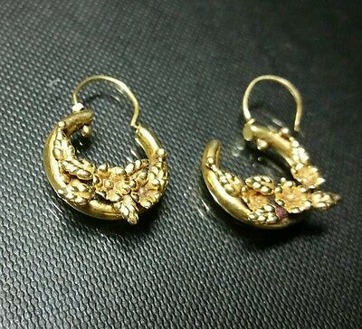 22k antique yellow solid gold earrings  floral