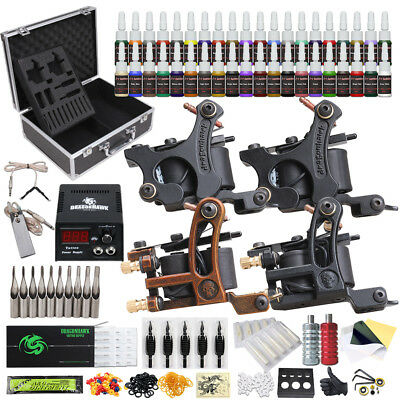 Tattoo Kit 4 Machine Guns 40 Color Inks Power Supply Needles Tip D23HD-10