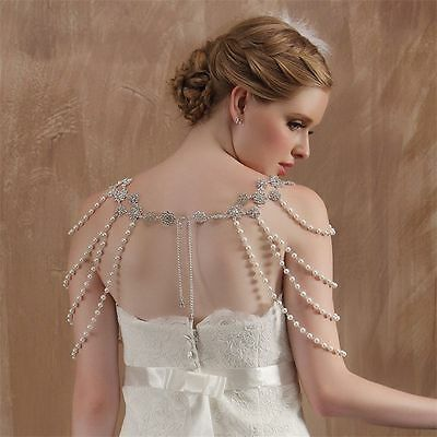 Wedding Bridal Fashion Crystal Pearl Shoulder Body Chain Tassel Necklace Jewelry