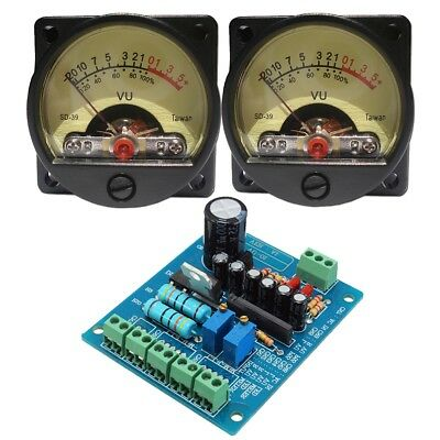 2pcs 500μA VU Meter Panel Warm Light Recording & Audio Level Amp + Driver Module