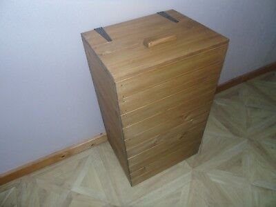 Handmade Rustic Style Wooden Laundry Basket- Many Colours and Sizes!