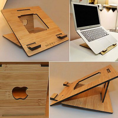 NEW Protable Wooden Color Wood Stand Cooling Holder For Macbook Pro Laptop