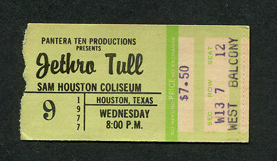 1977 Jethro Tull concert ticket stub Houston Texas Songs From The Wood